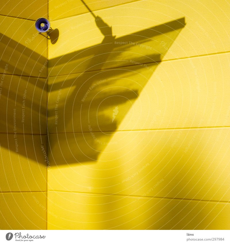 Announcement in yellow Yellow Loudspeaker Wall (building) Facade Building Shadow