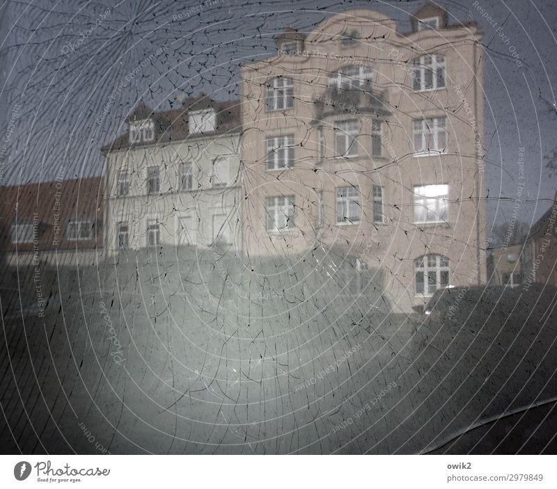 housekeeping Cloudless sky Bautzen Small Town Populated House (Residential Structure) Facade Window Broken Glass Anger Destruction Crack & Rip & Tear