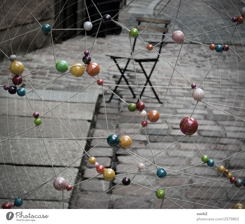 sphere Art Work of art Folding chair Sphere Stone Wood Plastic Hang Stand Exceptional Dark Together Glittering Town Many Crazy Rope Hover Cobblestones Street