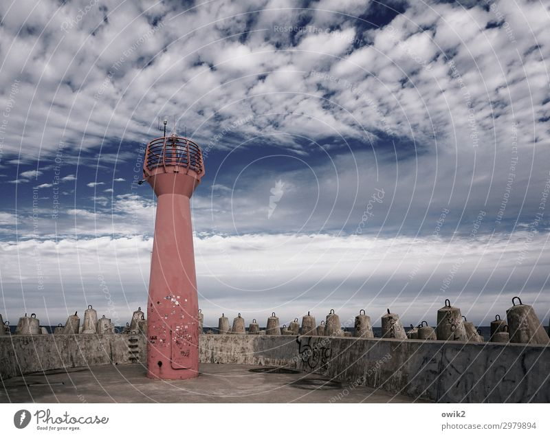Mole, cool Sky Clouds Kolberg Kolobrzeg Poland Eastern Europe Small Town Port City Harbour Tower Concrete Metal Stand Firm Safety Lighthouse Bank reinforcement
