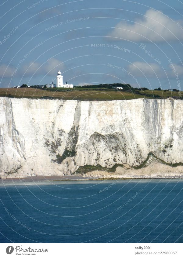 the white cliffs... White South Foreland Lighthouse Chalk Dover England Kent Great Britain English Channel Landscape Beautiful weather Blue sky Coast