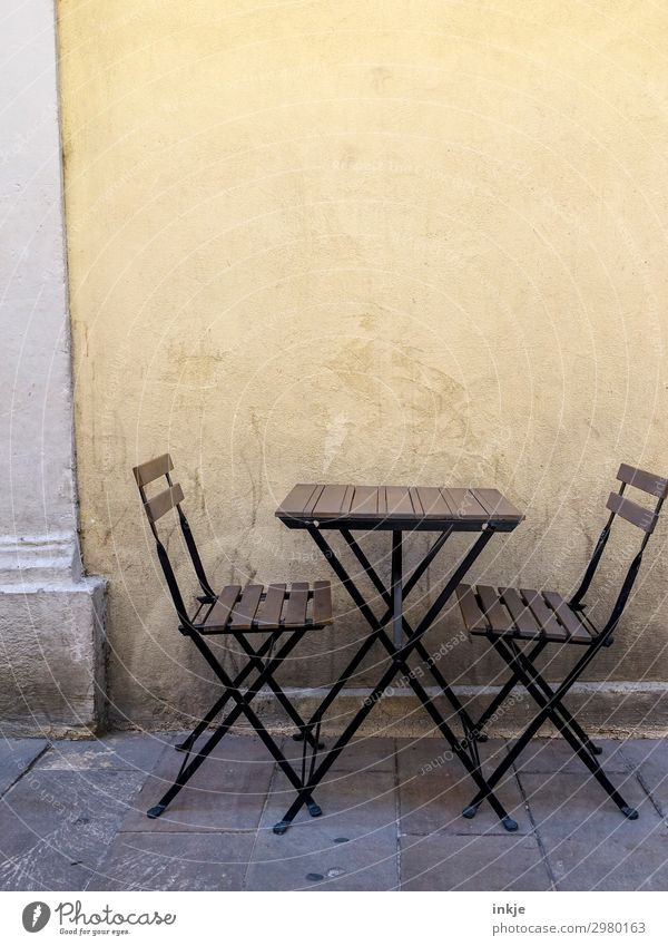 Cuban dialogue Deserted Places Wall (barrier) Wall (building) Terrace Chair Folding chair Wooden table Folding table Table Sidewalk café Authentic Simple Brown