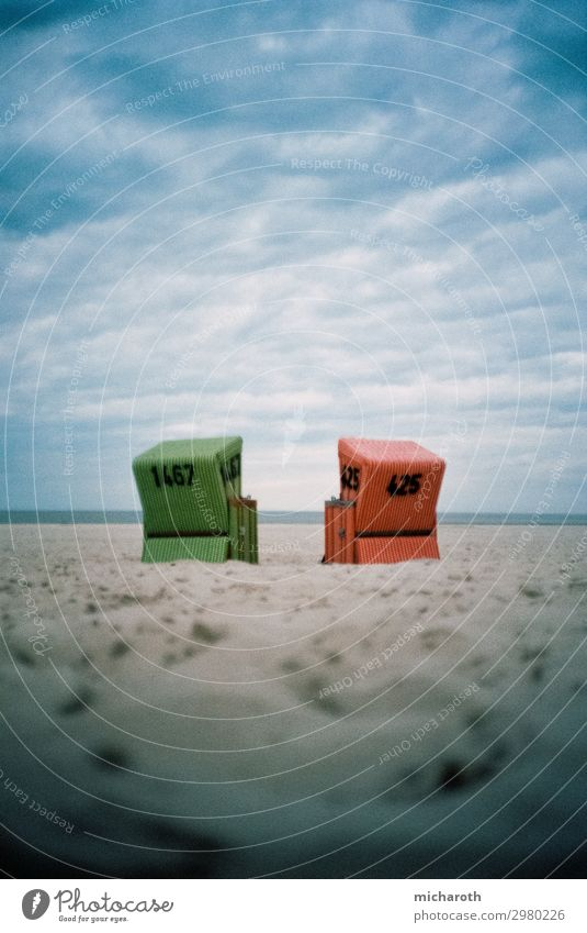 Two beach chairs at the beach Wellness Relaxation Vacation & Travel Beach Ocean Island Sand Clouds Storm clouds Autumn Bad weather Wind Gale North Sea Langeoog