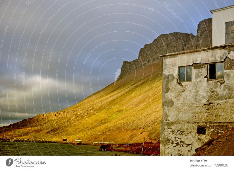 Iceland Environment Nature Landscape Sky Clouds Climate Hill Rock Mountain Fjord Djúpavík House (Residential Structure) Factory Manmade structures Building