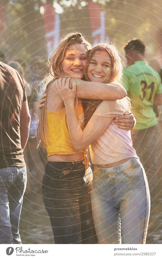 Portrait of happy young girls on holi color festival Lifestyle Style Joy Happy Beautiful Relaxation Vacation & Travel Freedom Summer Summer vacation Decoration
