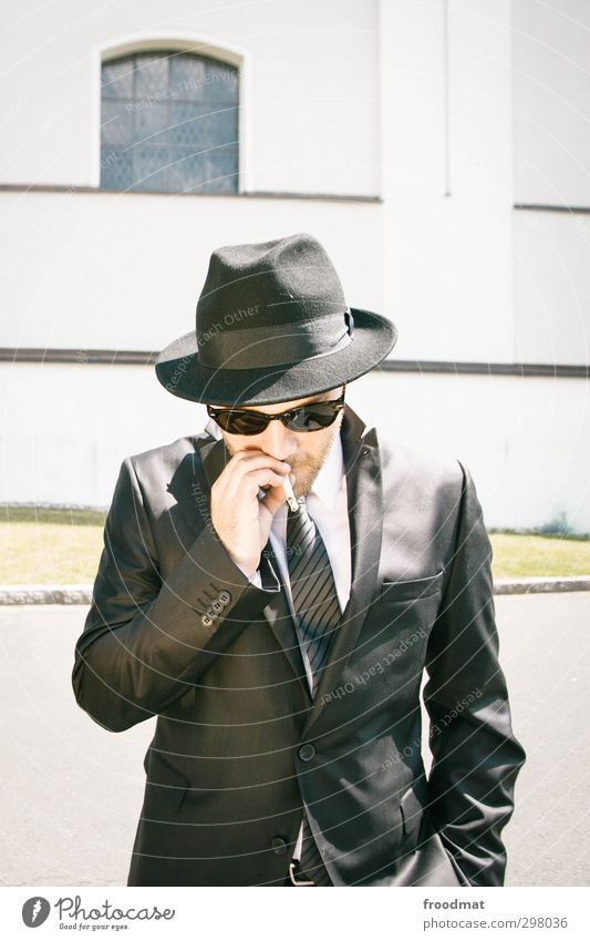 family-run business Wedding Human being Masculine Young man Youth (Young adults) Man Adults 1 Summer Suit Tie Sunglasses Hat Facial hair Smoking Cool (slang)