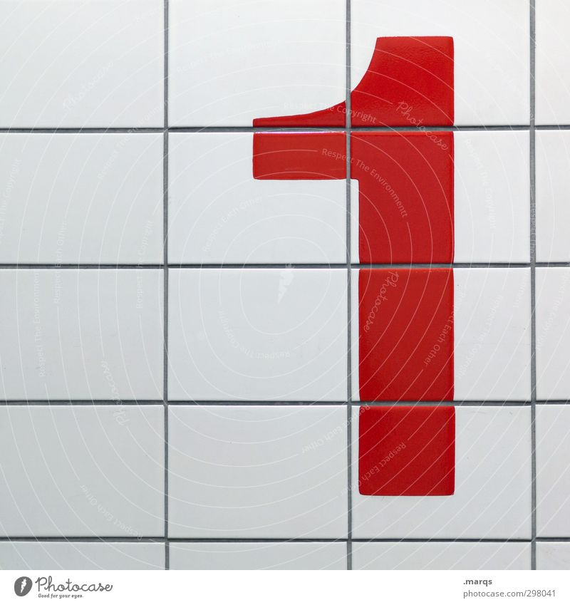 1 Success Wall (barrier) Wall (building) Sign Digits and numbers Simple Clean Red White Tile First Colour photo Interior shot Pattern Deserted Copy Space left