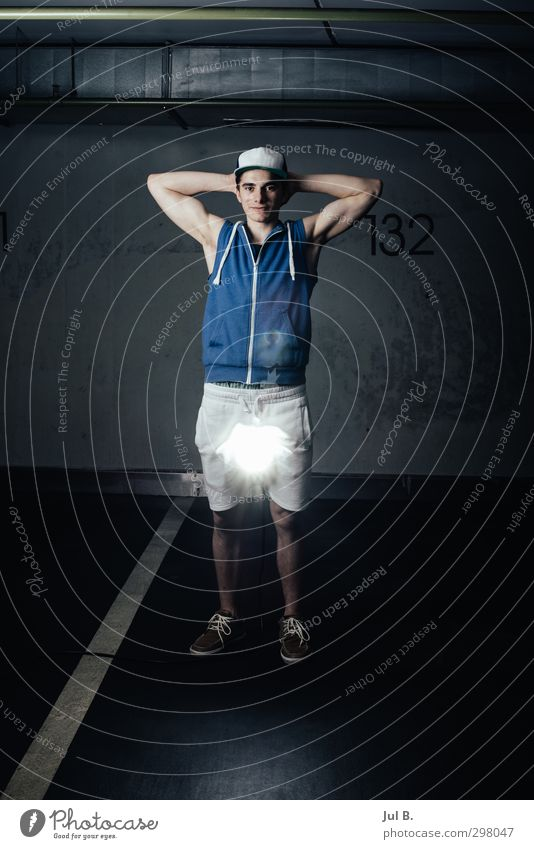 flash light Masculine Young man Youth (Young adults) 1 Human being 18 - 30 years Adults Good Emotions Adventure Colour photo Interior shot