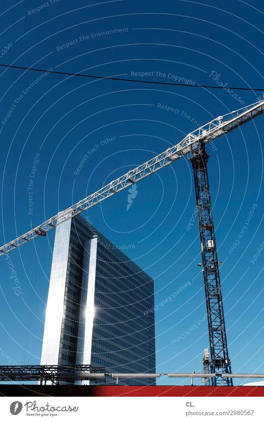 Sky Town Architecture Building High-rise Beautiful weather Large Tall Construction site Tourist Attraction Manmade structures Cloudless sky Economy Crane
