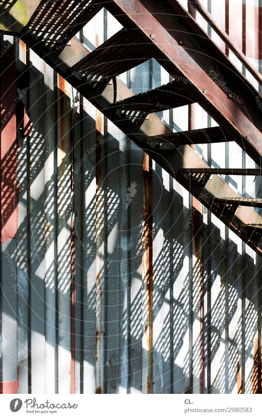 outside staircase Deserted Industrial plant Factory Building Architecture Stairs Container Metal Graffiti Old Dirty Broken Decline Rust Upward Downward