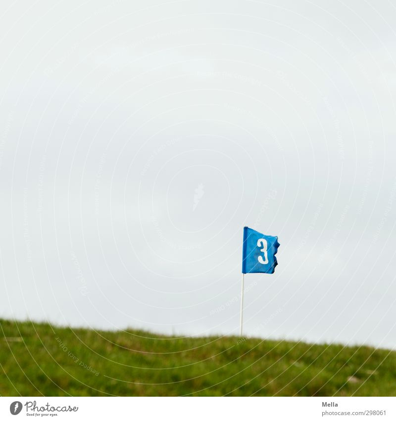 Rømø | 3 Golf Golf course Hole Sporting Complex Environment Landscape Meadow Sign Digits and numbers Flag Blue Judder Blow Wind Colour photo Exterior shot
