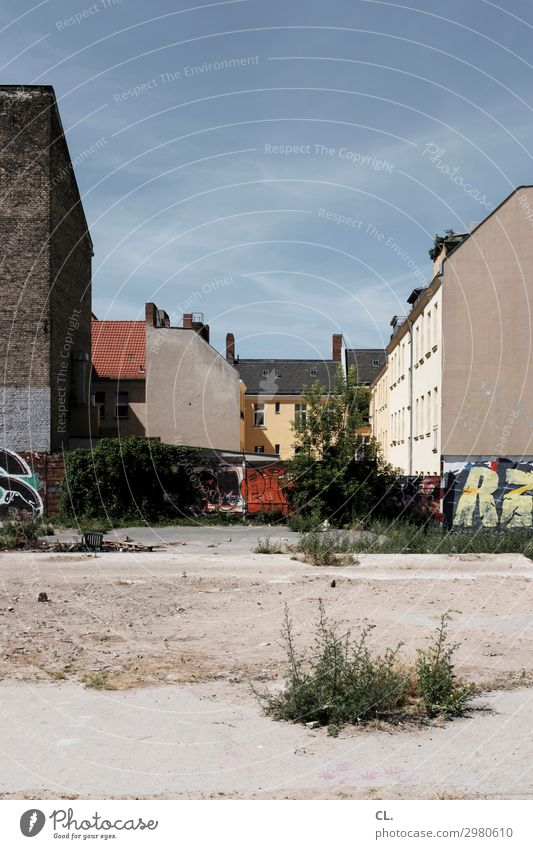 fallow land berlin Construction site Sky Cloudless sky Summer Beautiful weather Warmth Wild plant Berlin Neukölln Deserted House (Residential Structure) Places