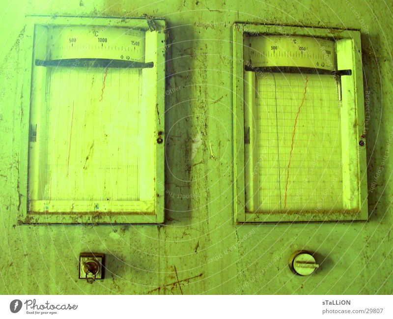 made in gdr Green Yellow Key Measuring instrument Switch Electrical equipment Technology shut Derelict Display