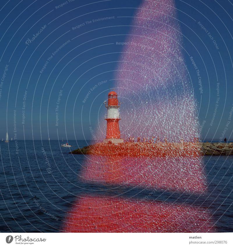 el bolo Human being Group Sky Cloudless sky Horizon Sunlight Coast Baltic Sea Navigation Sailing ship Harbour Blue Red Double exposure Lighthouse Mole