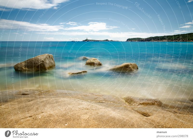 Sky Nature Vacation & Travel Water Summer Ocean Landscape Calm Beach Far-off places Warmth Coast Rock Waves Beautiful weather Idyll