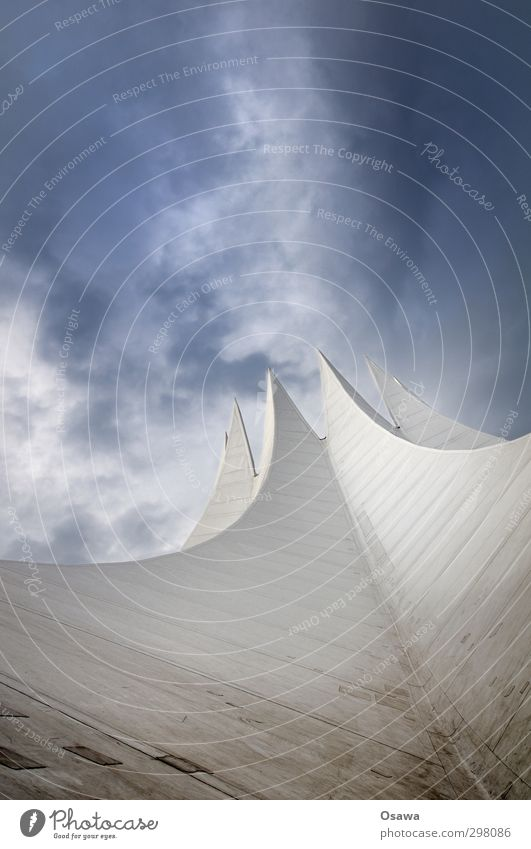 tempodromic Tempodrom Manmade structures Building Architecture Roof Tent Geometry White Old Gray Repair kit Upward Patch Dirty Sky Clouds Blue Worm's-eye view
