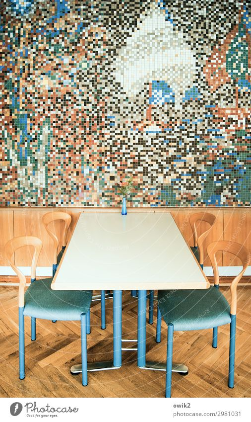 cafeteria Work of art Mosaic Wall (barrier) Wall (building) Table Tabletop Chair Interior design Modern Wall decoration wood panelling Flower vase Stone Wood