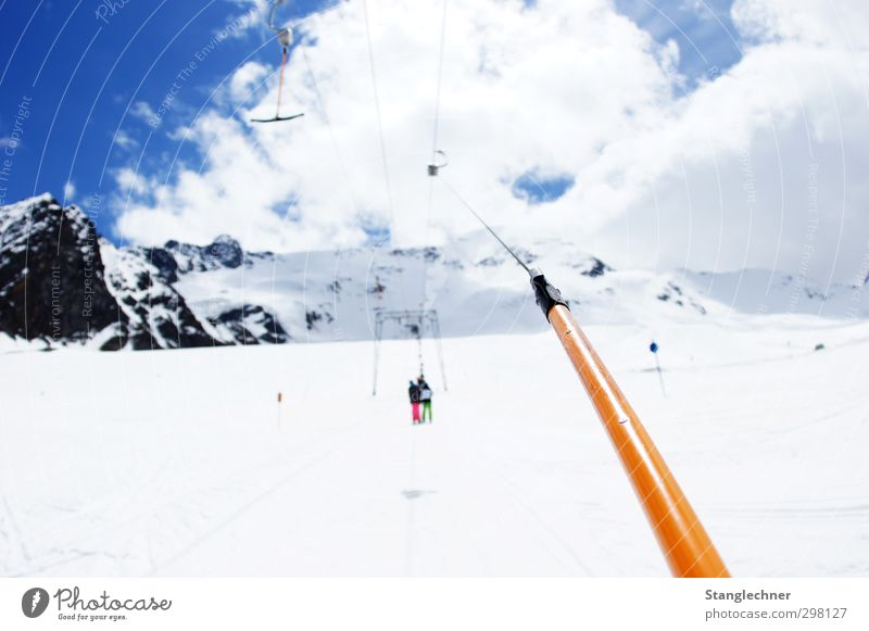 The mountain calls Lifestyle Leisure and hobbies Winter Snow Winter vacation Mountain Sports Winter sports Skiing Human being Nature Sky Snowcapped peak Glacier
