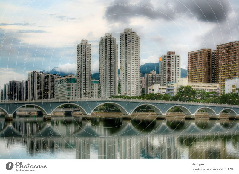 hong kong High-rise Bridge Water Vacation & Travel Town Asia reflection skyscrapers Set Exterior shot Deserted
