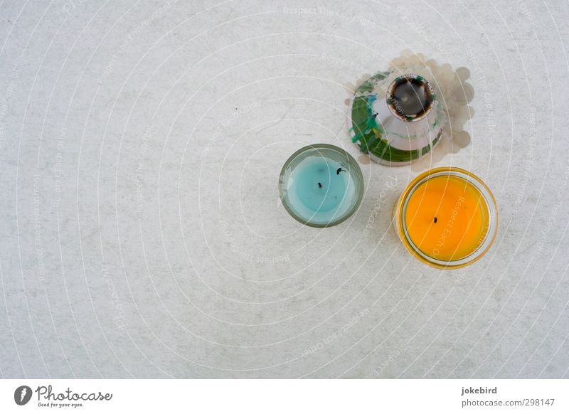 Remnants of a summer night Candle Storm laterne Blue Orange Wax Decoration Candlewick 3 Expire Past Colour photo Exterior shot Deserted Copy Space left