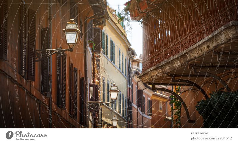 glimpse of an alley of Trastevere in Rome with ancient buildings Beautiful Vacation & Travel Tourism Sightseeing Summer House (Residential Structure) Lamp