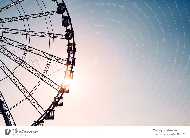 Silhouette of a Ferris wheel at sunset. Lifestyle Joy Happy Leisure and hobbies Far-off places Freedom Summer Sun Entertainment Sky Rotate To enjoy Adventure