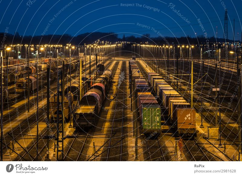 Railway switching yard at night. Nature Landscape Far-off places Architecture Environment Movement Work and employment Transport Technology Adventure Industry