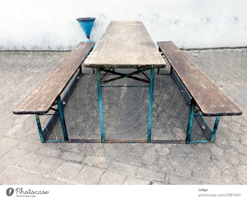 idyllic resting place Deserted Places Resting place Ashtray Wooden bench Bench Beer table Seating Authentic Simple Break Bleak Colour photo Subdued colour