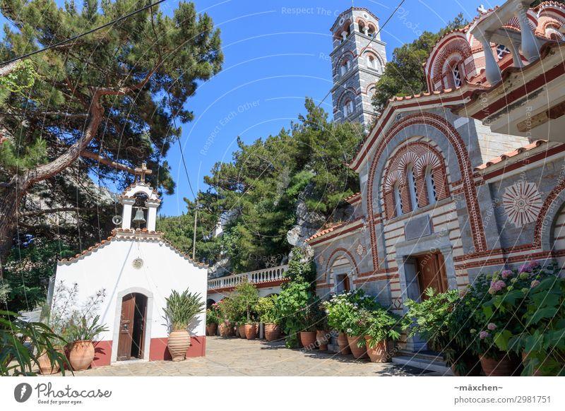 monasteries Foliage plant Village Church Tower Manmade structures Architecture Tourist Attraction Landmark Monument Vacation & Travel Europe Greece Crete