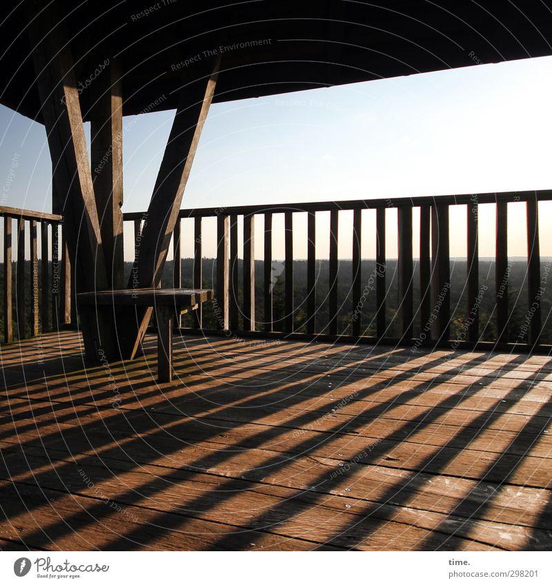 evening light Environment Nature Landscape Sky Horizon Tower Balcony Handrail Seating Wood Tall Emotions Joie de vivre (Vitality) Romance Caution Serene Patient