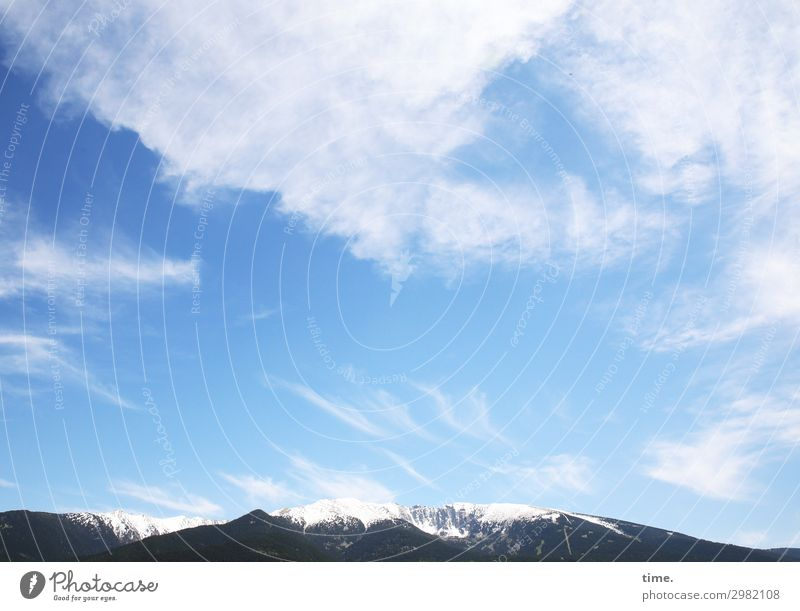 airy heights Winter sports Climbing Mountaineering Environment Nature Landscape Sky Clouds Beautiful weather Wind Snow Peak Snowcapped peak Mountain range Dark
