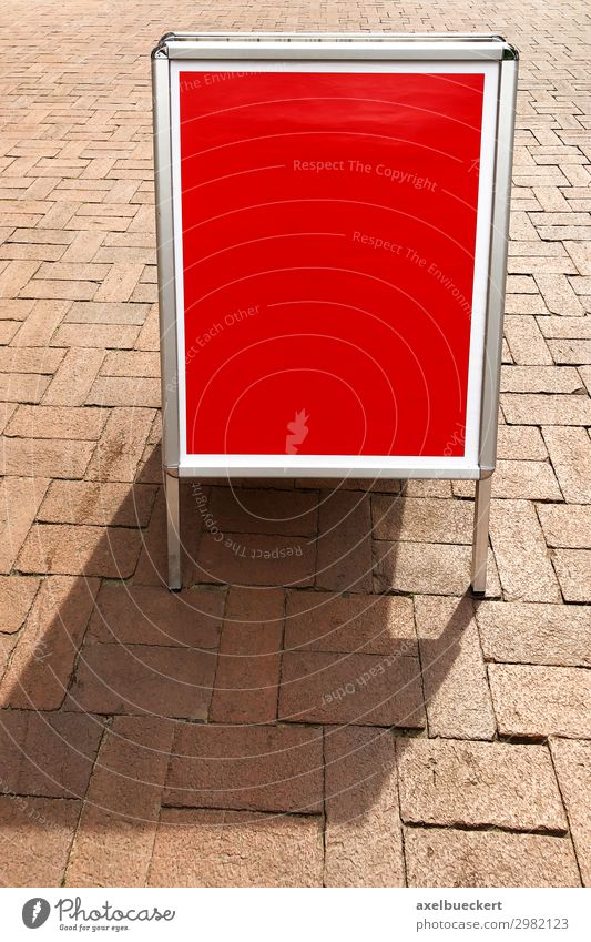 empty customer stoppers or poster stands with free text space Trade Advertising Industry Signs and labeling Signage Warning sign Red Marketing