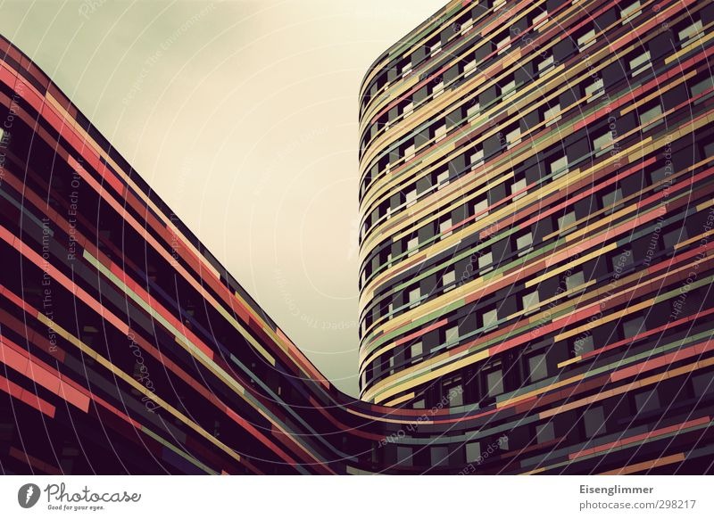 City Window Architecture Building Germany Facade Tall High-rise Europe Esthetic Hamburg Stripe Round Uniqueness Port City Curved