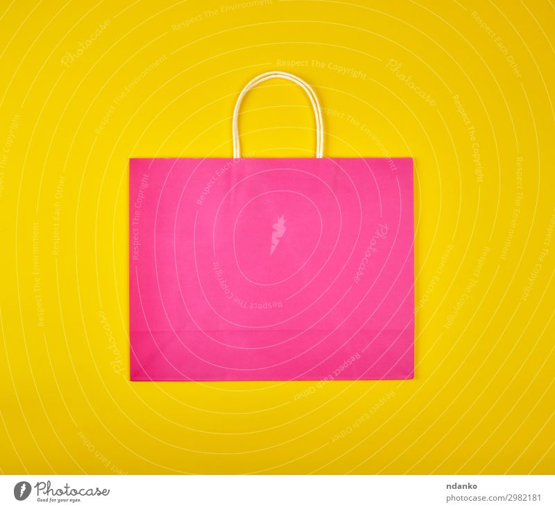rectangular pink paper shopping bag Lifestyle Shopping Design Business Paper Packaging Package Sack Modern New Yellow Pink Colour backdrop background buy