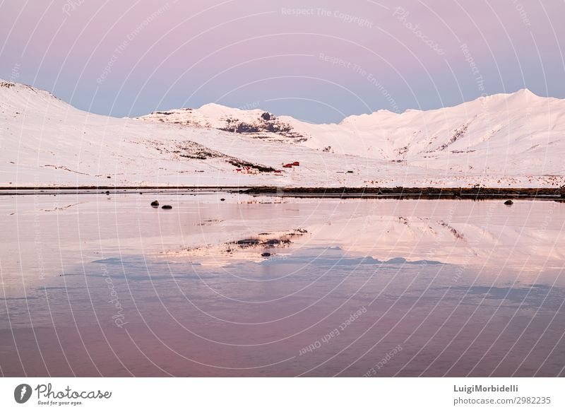Mountains in Snaefellsnes peninsula at sunset, Iceland Vacation & Travel Tourism Ocean Winter Snow House (Residential Structure) Nature Landscape Sky Sunrise