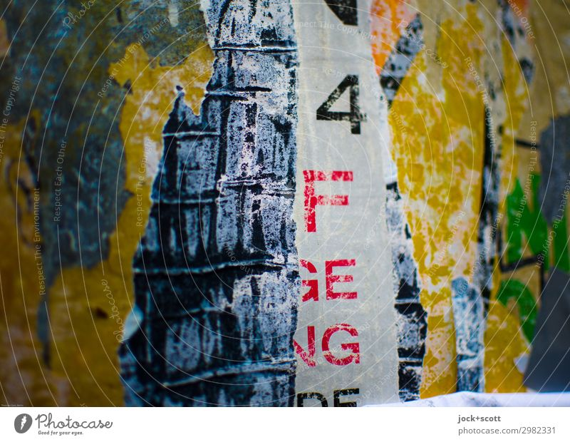 Brouillerie Poster Decoration Collection Characters Digits and numbers Stripe Crack & Rip & Tear Authentic Firm Uniqueness Near Trashy Moody Perturbed Grouchy