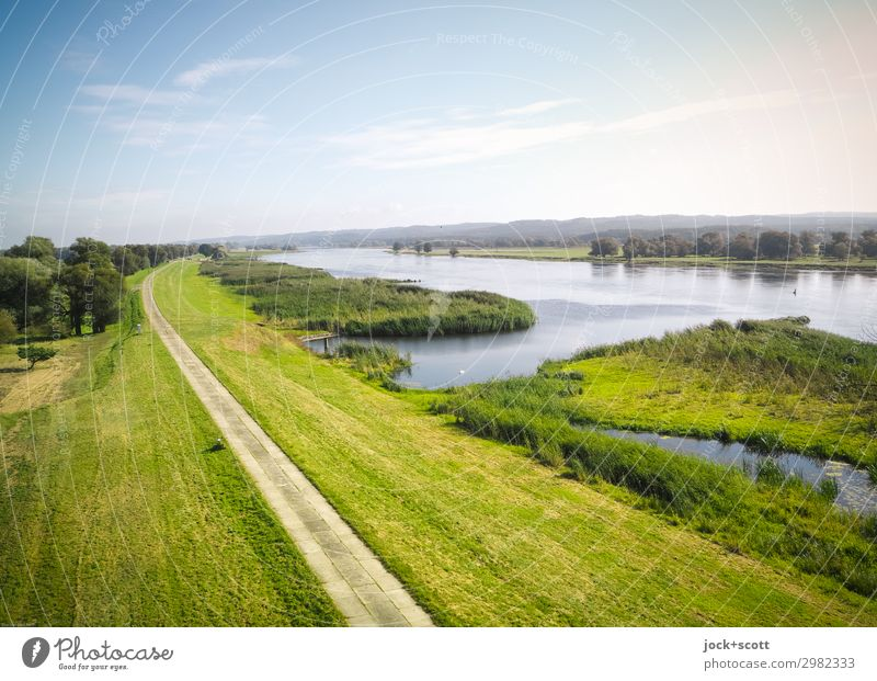 Way or river Vacation & Travel Landscape Clouds Summer Beautiful weather Meadow River Oder Dam Lanes & trails Authentic Far-off places Free natural green