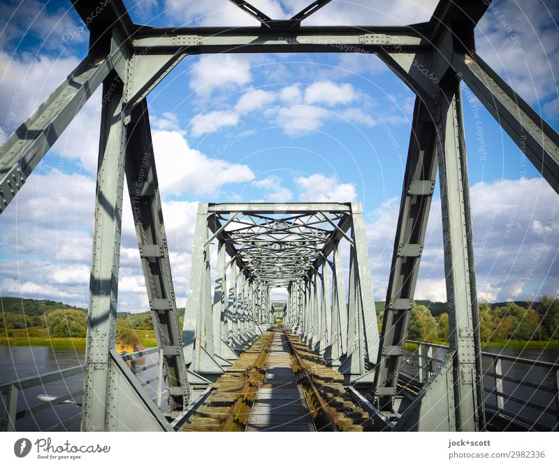 Shut down, open Sky Summer Landscape Clouds Architecture Lanes & trails Style Freedom Moody Retro Perspective Beautiful weather Bridge Historic Change Past