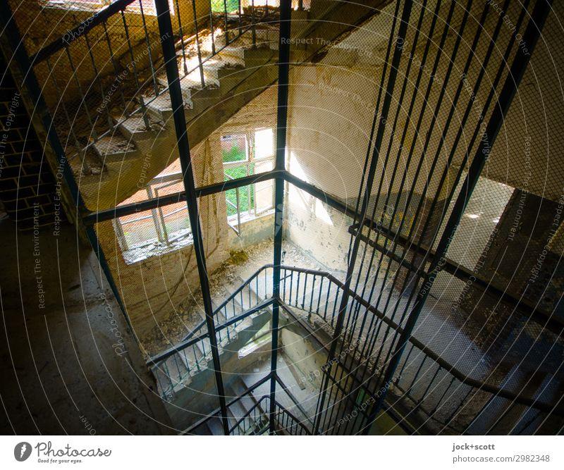 That's It Beautiful weather Brandenburg Ruin Stairs Window Elevator shaft Staircase (Hallway) Line Exceptional Sharp-edged Historic Broken Above Moody Calm