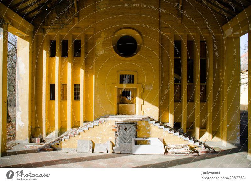 Sunrise entrance Architecture Brandenburg Ruin Military building Wall (barrier) Wall (building) Stairs Facade Exceptional Historic Long Yellow Moody Attentive