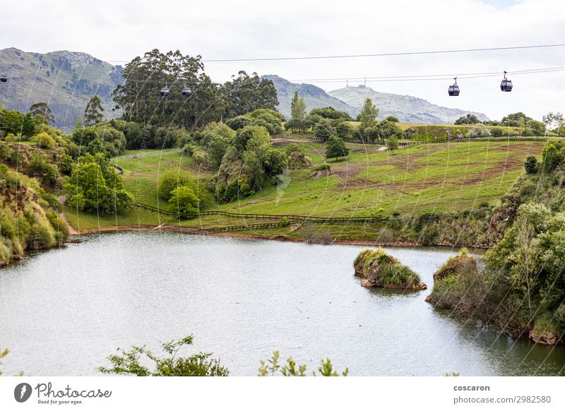 Natural park with cable cars in Cantabria, Spain Sky Vacation & Travel Nature Summer Blue Beautiful Green Landscape Tree Clouds Forest Mountain Lifestyle
