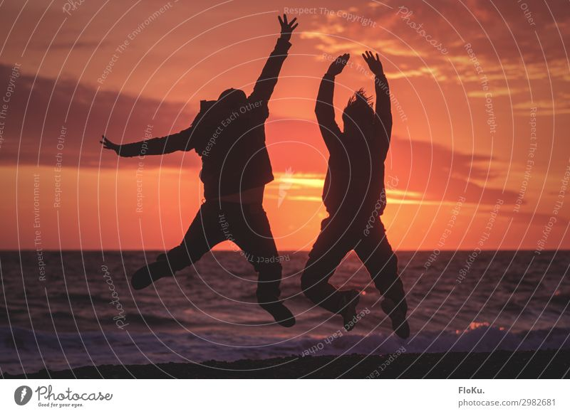 Couple jumps on the beach at sunset Beach Sunset Silhouette holidays vacation Coast North Sea Waves Sky Relaxation Joy fun Tourism Vacation & Travel