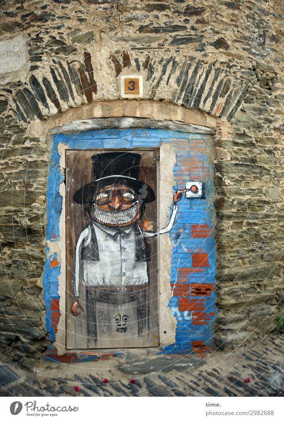 bellman Masculine Man Adults 1 Human being Art Painting and drawing (object) cartoon Wall (barrier) Wall (building) Door Bell Entrance Graffiti Observe
