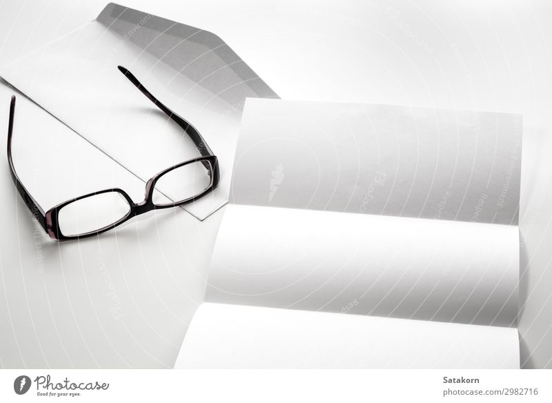 blank of letter paper and envelope with eyeglasses Office Business Paper Write White Blank Object photography template background Document Brochure Set isolated