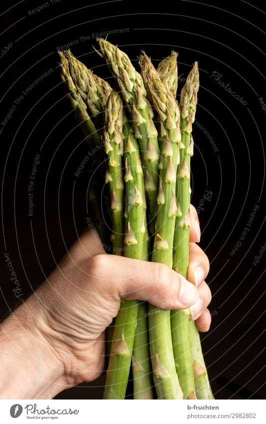 a bunch of green asparagus Food Vegetable Nutrition Organic produce Vegetarian diet Healthy Eating Cook Man Adults Hand Fingers Summer Work and employment