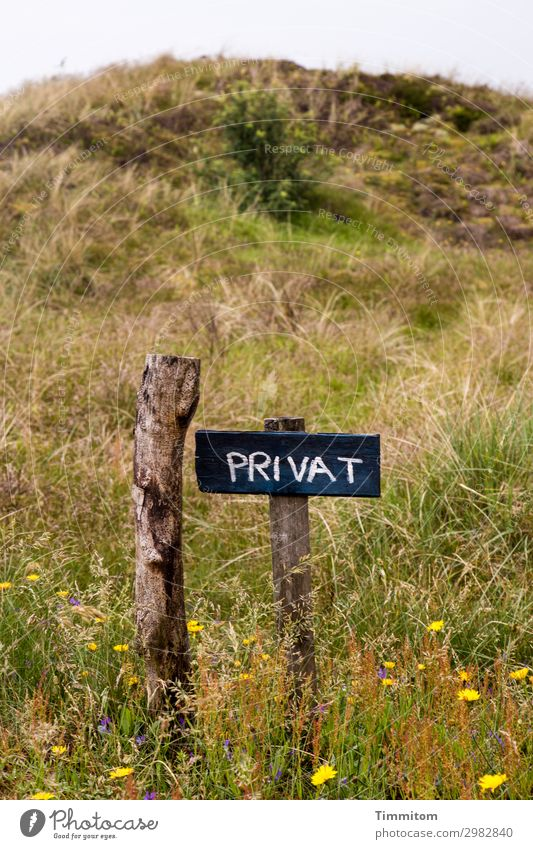 PRIVATE (HF) Vacation & Travel Environment Nature Plant Flower Meadow Hill Dune Denmark Lanes & trails Pole Wood Signs and labeling Signage Warning sign Simple