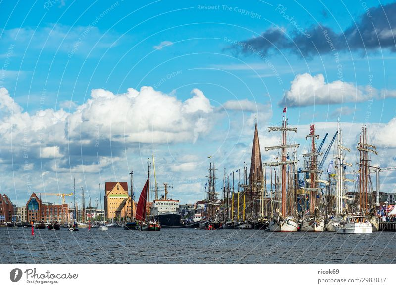 Sailing ships on the Hanse Sail in Rostock Relaxation Vacation & Travel Tourism Summer House (Residential Structure) Nature Landscape Water Clouds River Town