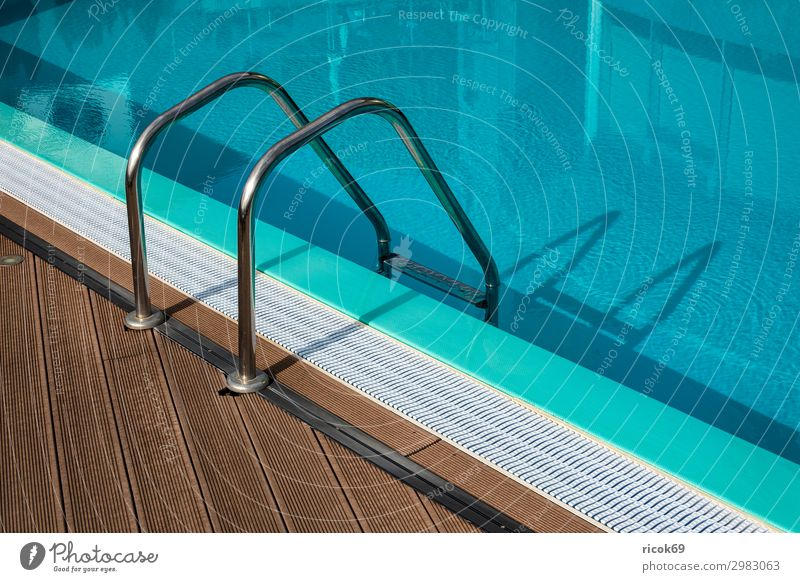 Swimming pool with ladder on holiday Relaxation Leisure and hobbies Vacation & Travel Tourism Island Ladder Water Capital city Blue Fitness Joy Healthy Idyll