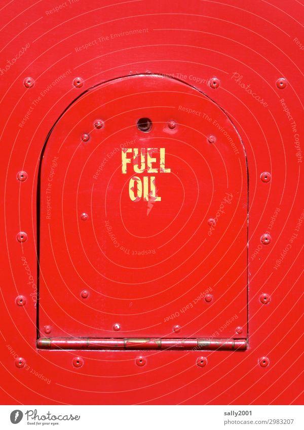 Old Red Metal Signs and labeling Signage Round Museum Nostalgia Oil Bus Motor vehicle Means of transport Vintage car Original Gasoline
