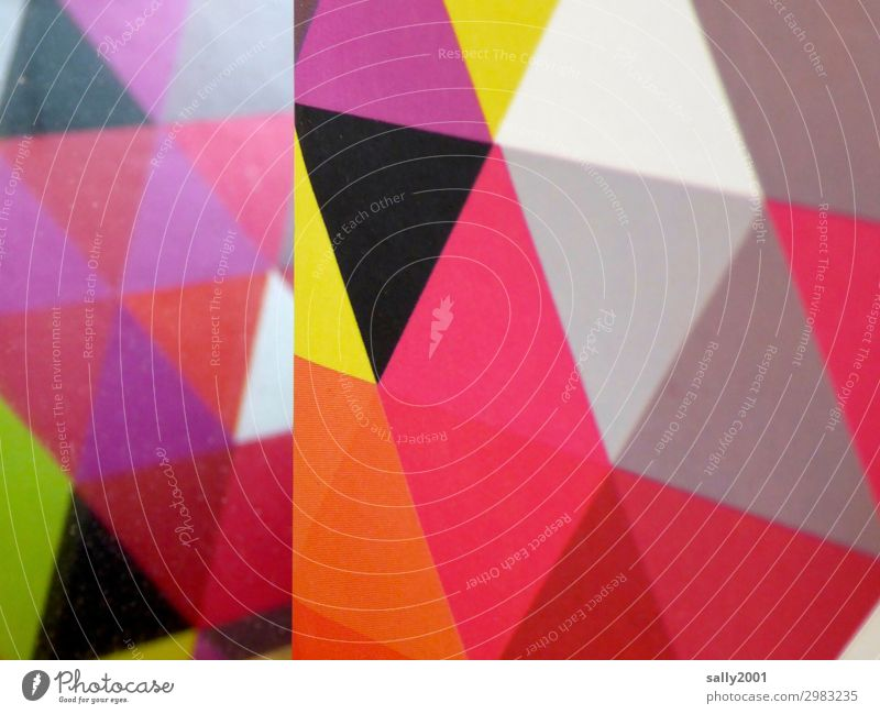 rough edges... Art Ornament Esthetic Sharp-edged Multicoloured Triangle Pattern Cardboard Graphic Design Geometry Corner Colour photo Deserted
